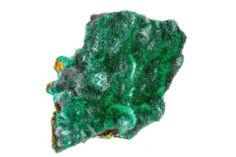 Macro pierre minérale plisoviy, peluche, malachite de satin sur un blanc photo libre de droits