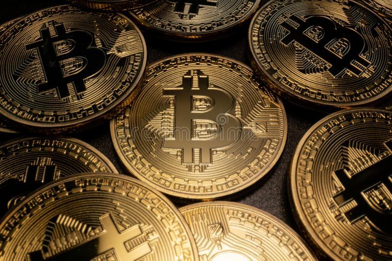Macro pile de Bitcoin images libres de droits