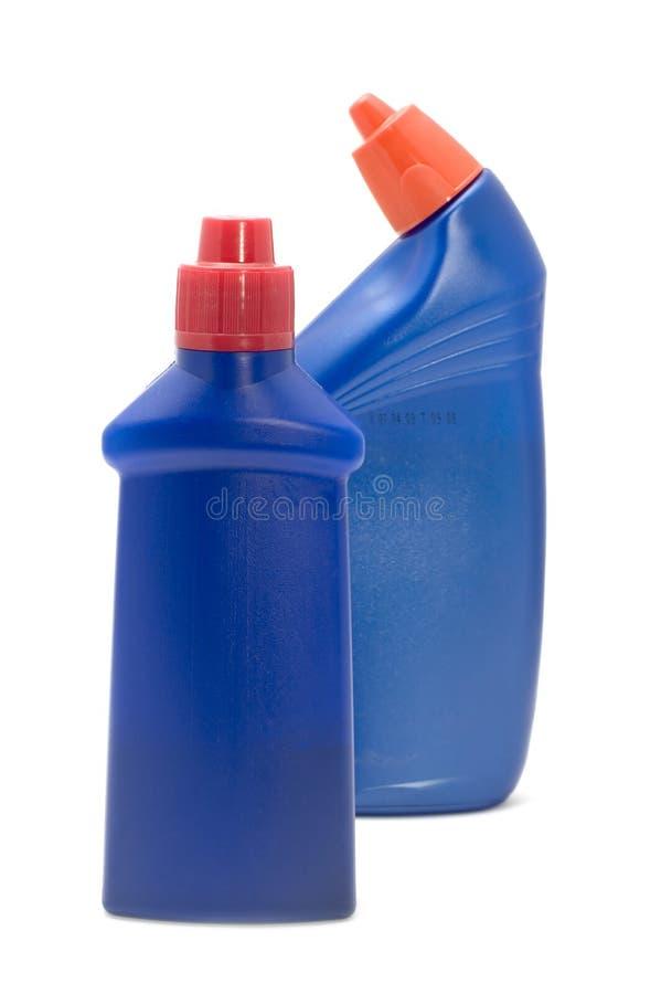 Macro plástico azul do frasco fotografia de stock