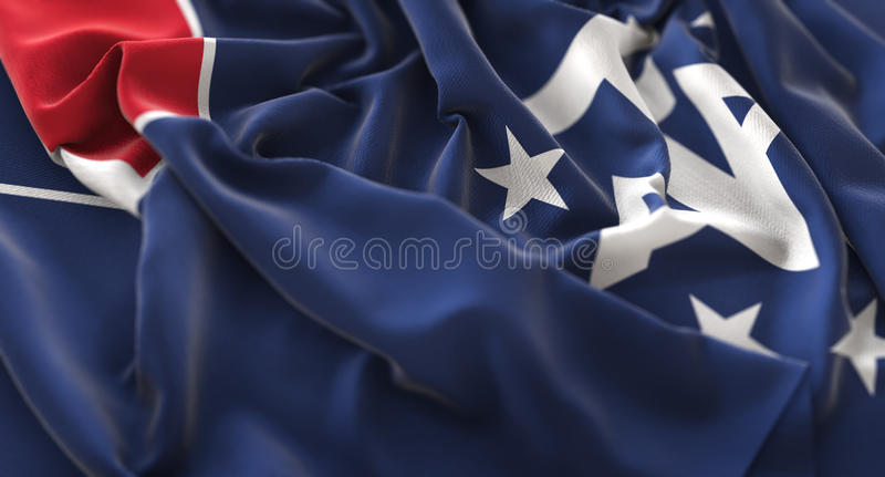 Macro plan rapproché admirablement de ondulation hérissé par drapeau du sud français S photographie stock libre de droits