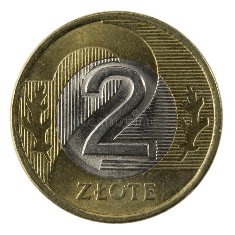 Macro of Polish 2 zloty coin stock photo