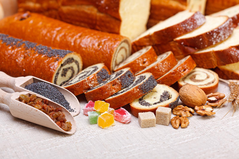 Download Macro Of Poppy Seed And Walnut Rolls Stock Image - Image: 27384317