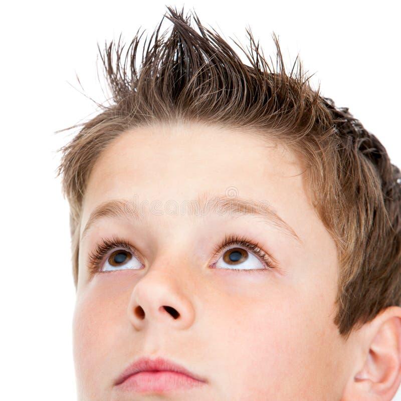 Macro portrait of Boy looking at corner. stock image