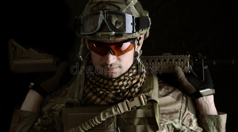 Macro portrait of a military man sniper stock photos