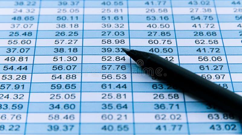 Macro preto do lápis sobre uma tabela financeira dos dados numéricos da planilha com as colunas que detalham números crescentes p foto de stock royalty free