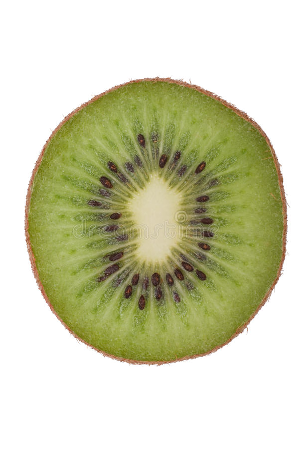Macro projectile d'un kiwi d'isolement sur le blanc image libre de droits