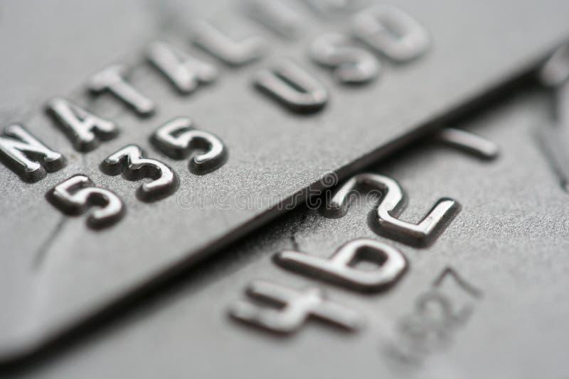 Macro projectile des cartes de crédit photos stock