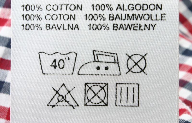 Macro real da etiqueta da roupa fotos de stock