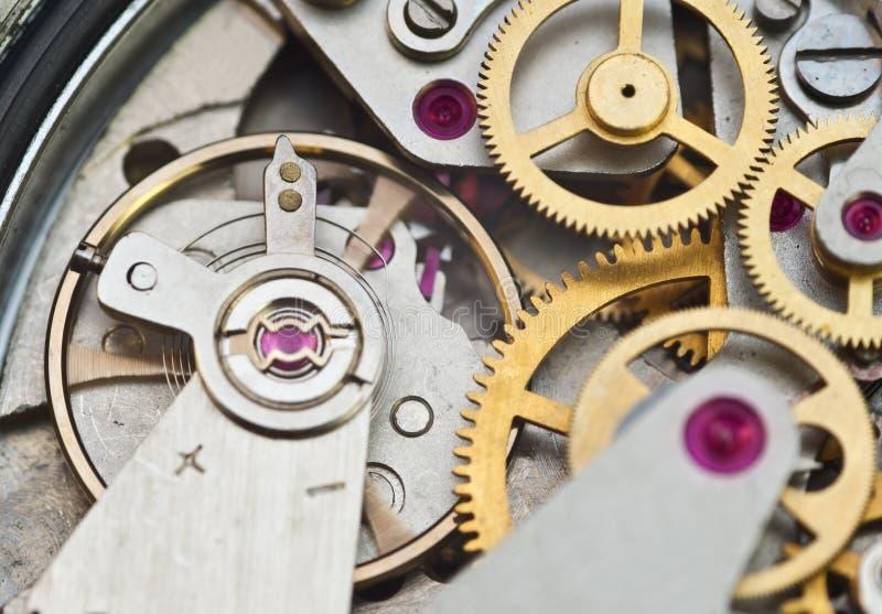 Macro roues dentées en métal, travail d'équipe de concept photographie stock