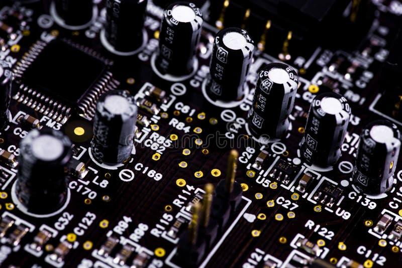 Macro scheda madre del primo piano, circuito Tecnologia di hardware elettronica fotografia stock libera da diritti
