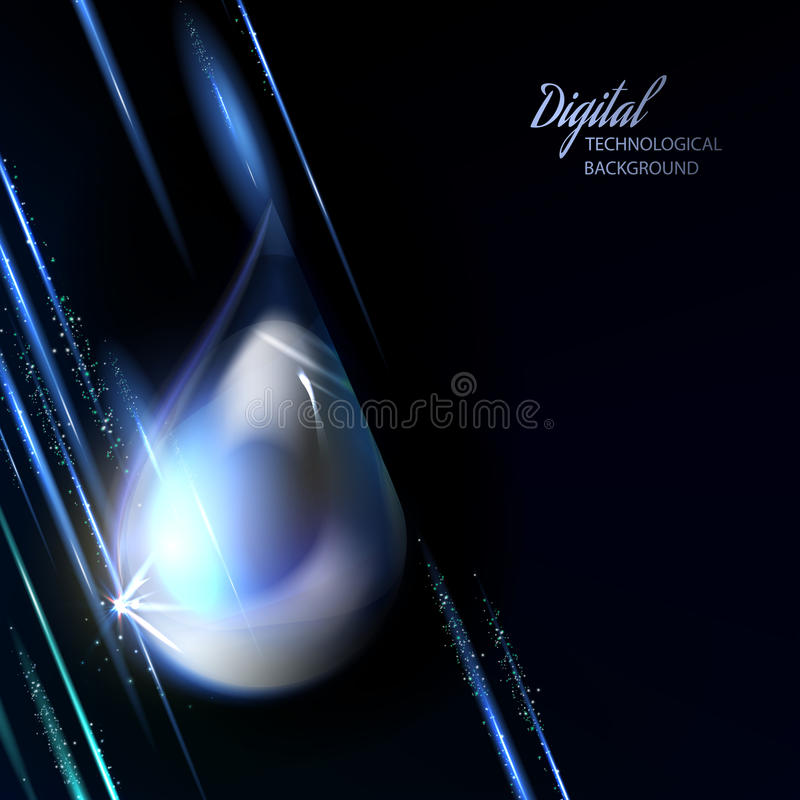 Macro of shiny drop on dark background. stock photos