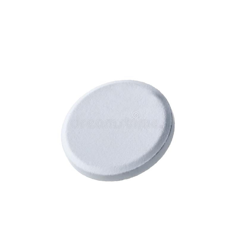Macro shoot of single white pill isolated on white background. Close-up stock photography