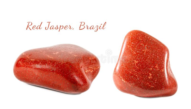 Macro shooting of natural gemstone. Mineral red Jasper, Brazil. Isolated object on a white background. royalty free stock photography