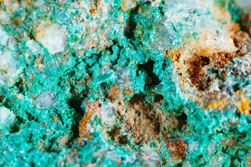 Macro shooting of natural gemstone. Texture of mineral of malachite. Abstract background. Macro shooting of natural gemstone. Texture of mineral of malachite royalty free stock images