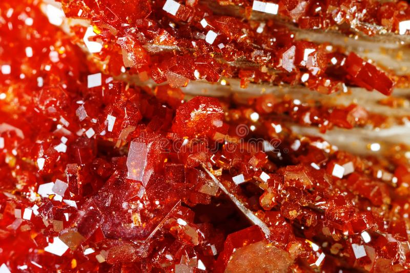 Macro shooting of natural gemstone. Texture of mineral vanadinite. Abstract background. stock photo