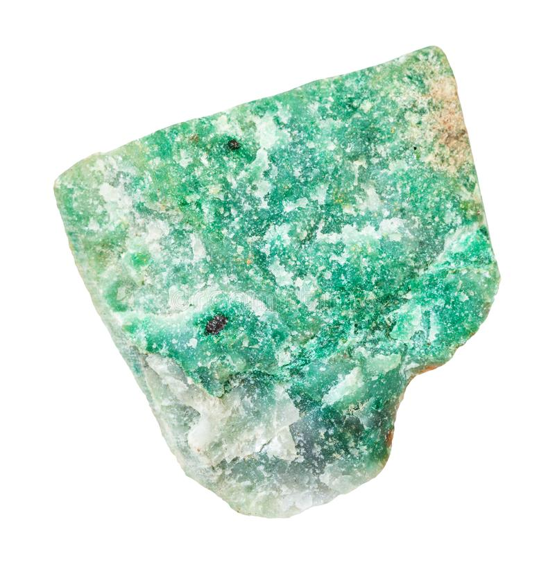 Rough green Aventurine stone isolated. Macro shooting of natural mineral - rough green Aventurine stone isolated on white backgroung from Ural Mountains royalty free stock photography