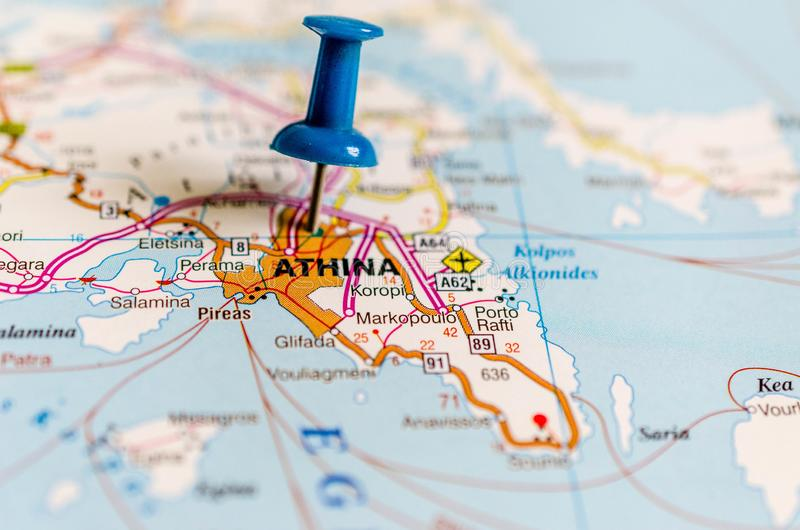 Athens on map royalty free stock photos