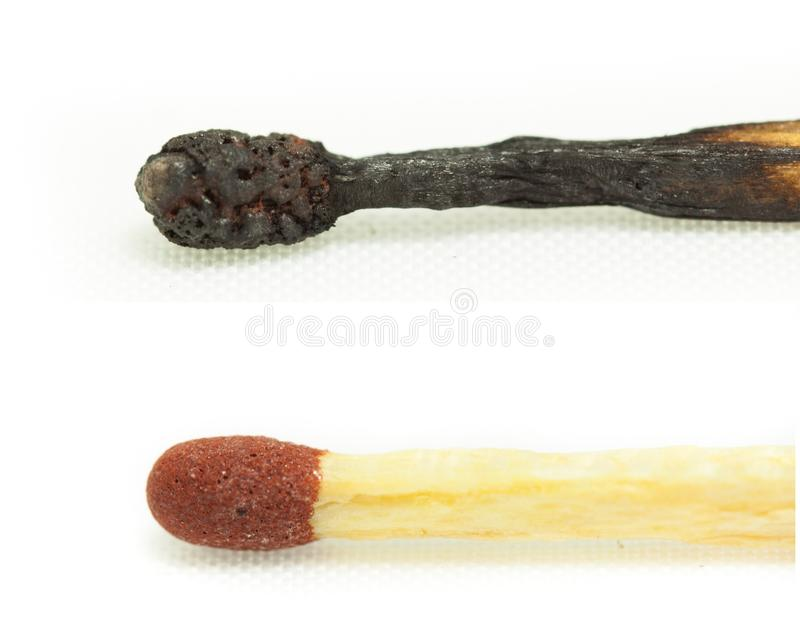 Macro shot of a burnt match head isolated. With white background stock photo