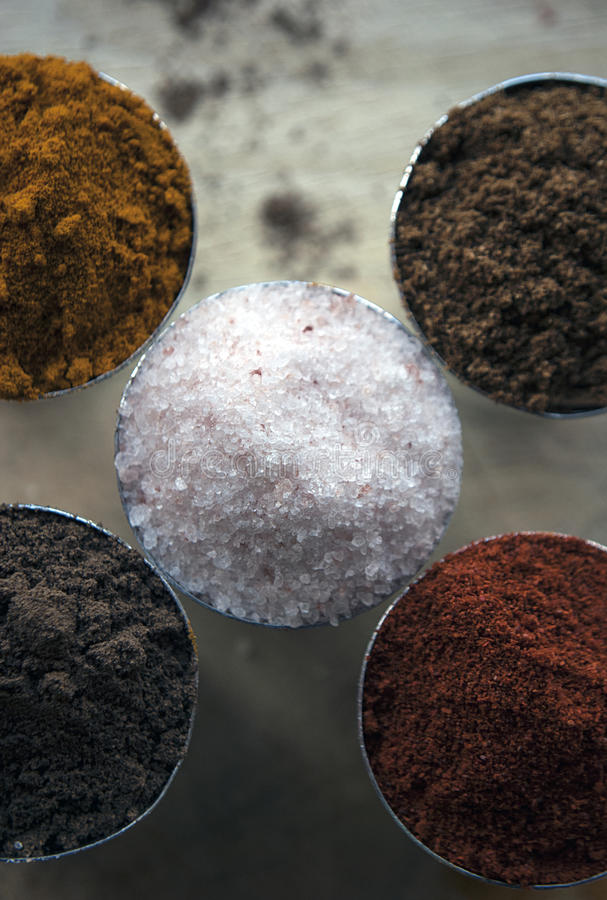 Macro shot of a composition of five spices stock photo