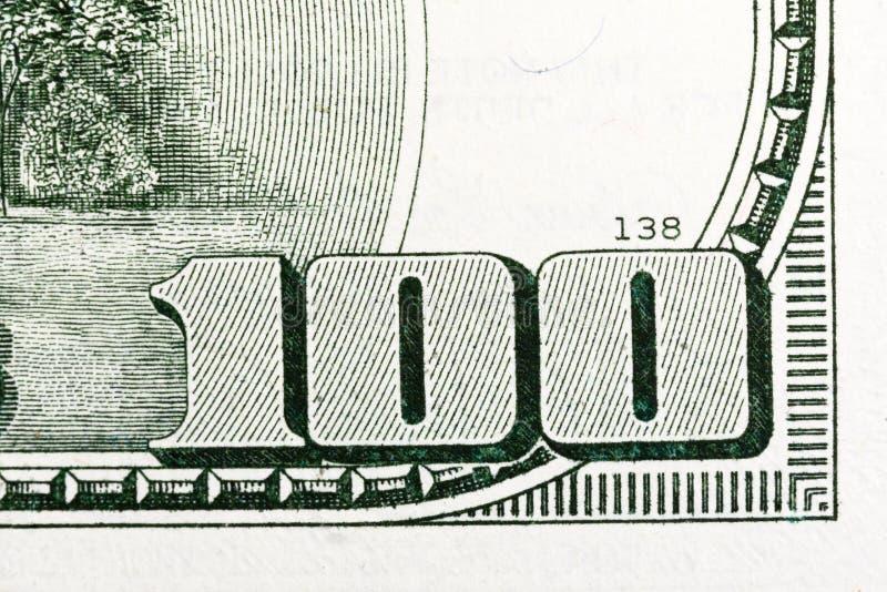Macro shot of 100 dollar bill US money. High resolution photo royalty free stock photos