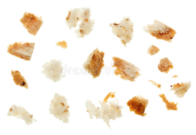 Macro shot of dried bread crumbs stock photos