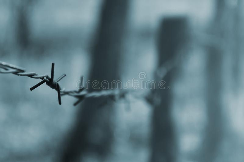 Macro shot of an element of old and rusty barbed wire with a blurred background. Fragment of a village fence of a territorial sit. E royalty free stock images