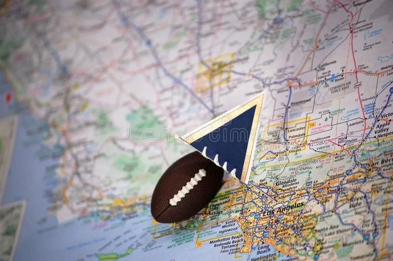 Los Angeles. Macro shot of a flag and football placed on Los Angeles, California in a map royalty free stock images