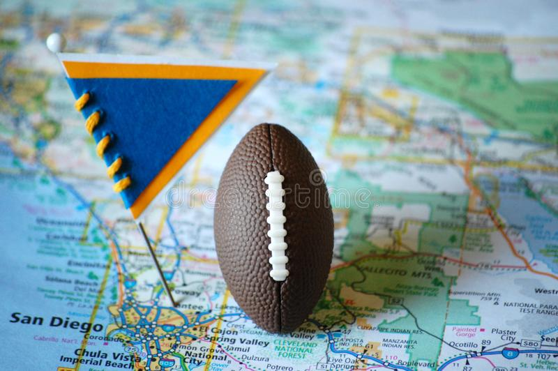 San Diego. Macro shot of a flag and football placed on San Diego, California in a map royalty free stock photos