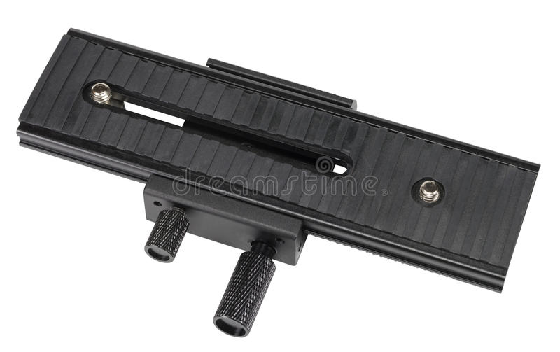 Macro shot focusing rail slider isolated on white. Background stock photography