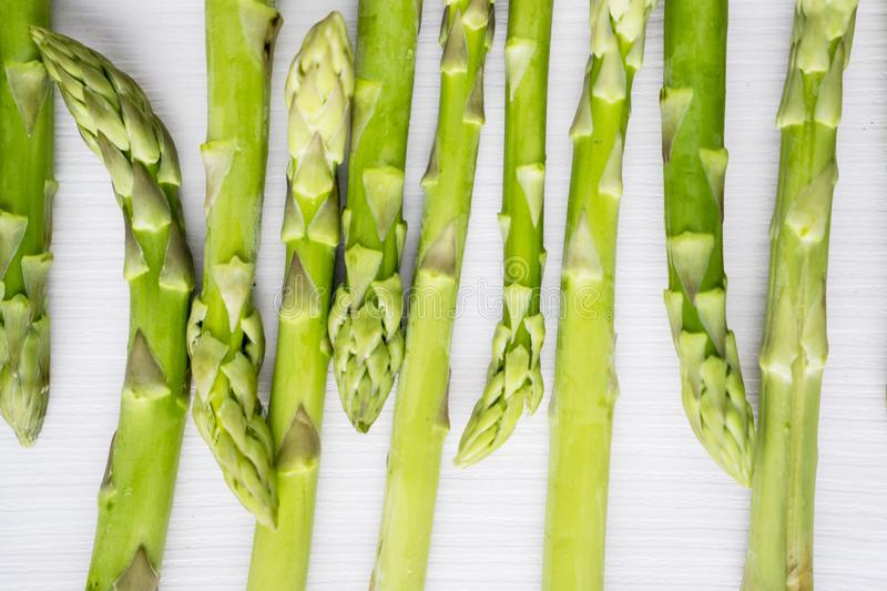 Macro shot of fresh raw sprouts of asparagus stock image
