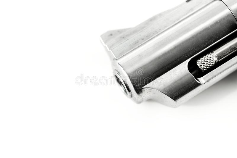 Macro shot of gun isolated on white background stock photos