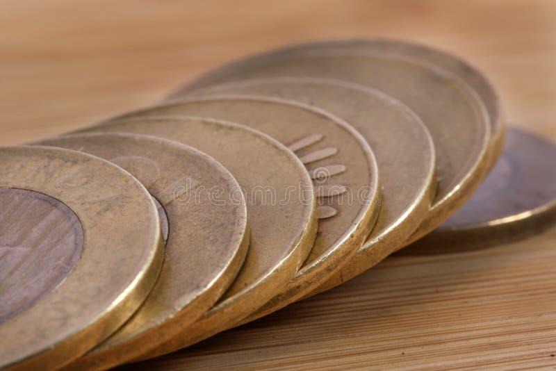Metal coins. Macro shot of indian metal coins stock images
