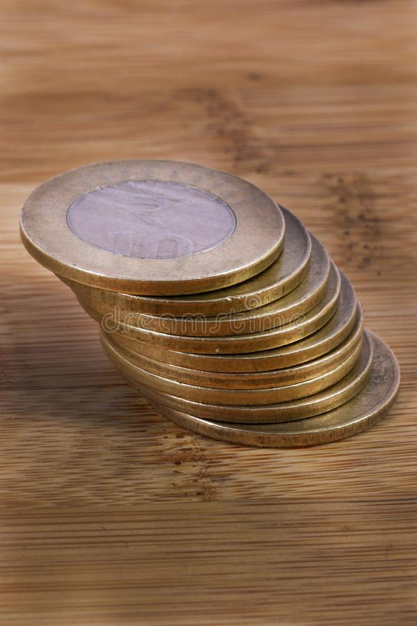 Metal coins. Macro shot of indian metal coins stock photography