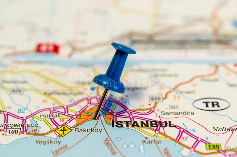 Istanbul on map stock photos