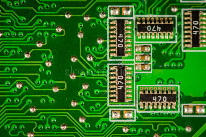 Macro shot of a laptop computer main board pcb. stock photo