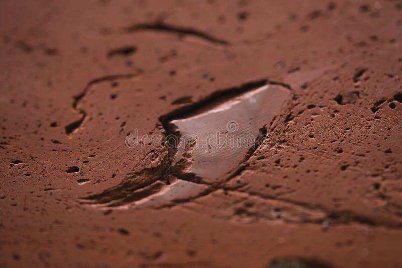 Macro shot of old red brick cut stock image