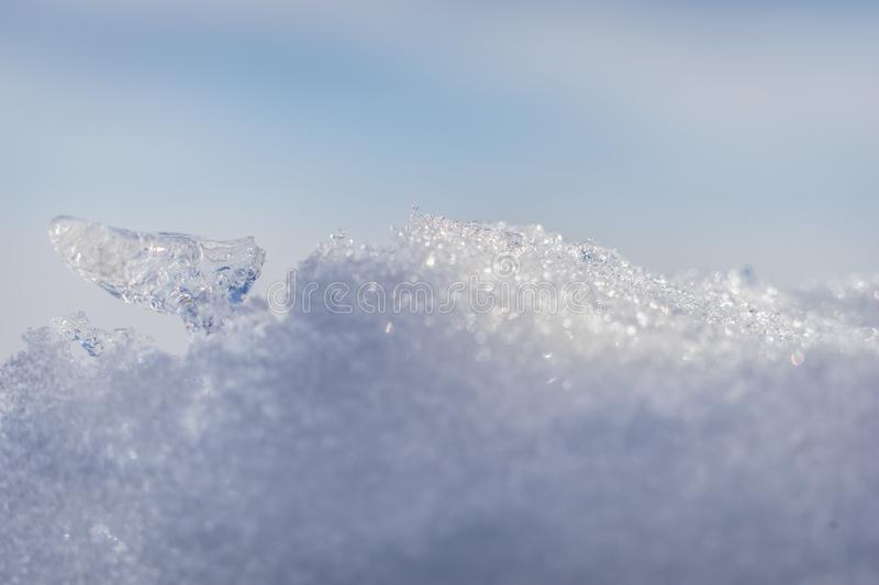 A macro shot of a pile of snow stock image