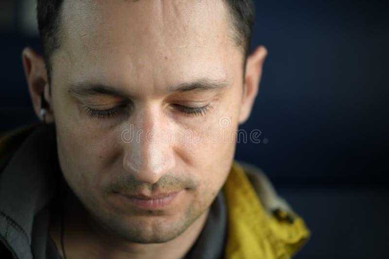 Macro shot. Portrait of handsome man, day light stock photo