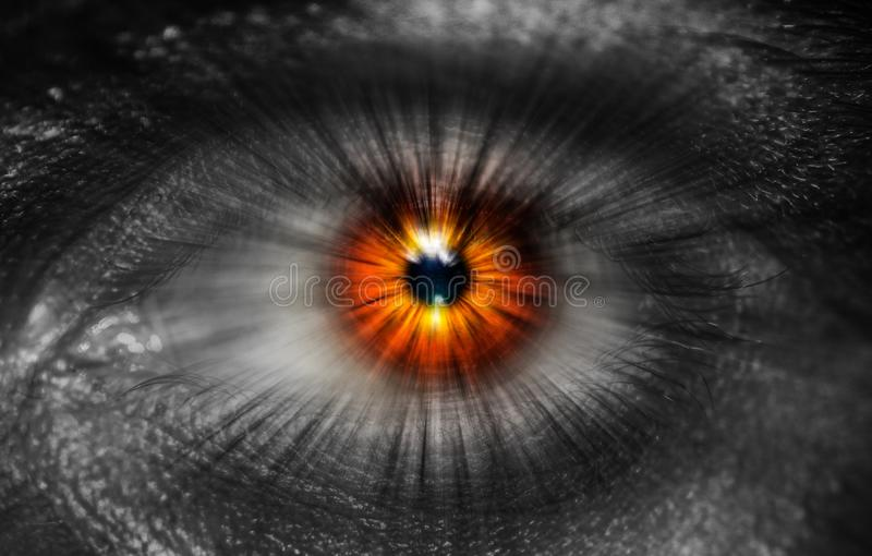 Close-up colorful human eye stock photography