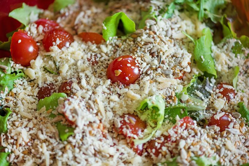 Freshly made caesar salads with dressing. royalty free stock photos