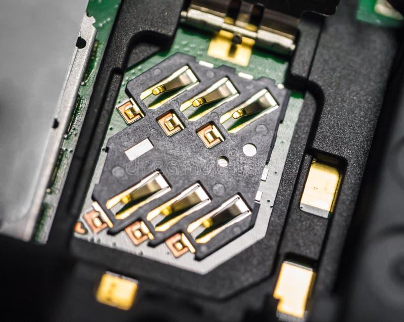 Macro of SIM card slot stock photography
