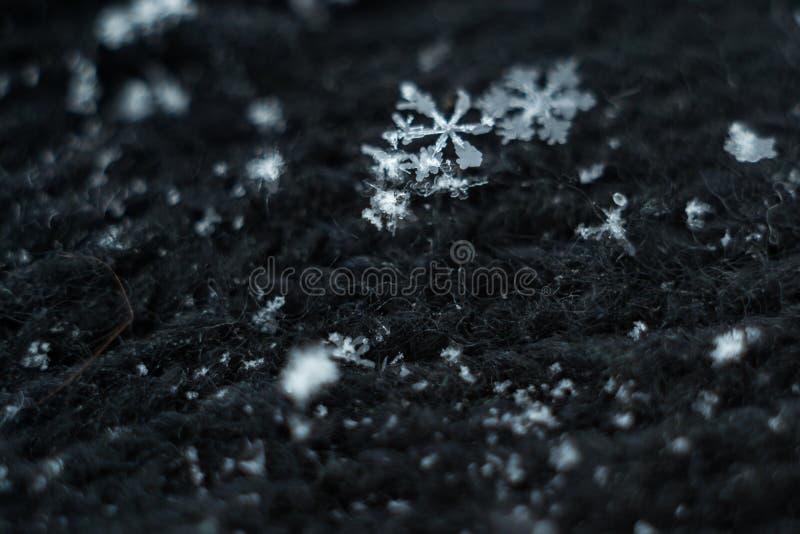 Macro snowflake on black. Macro snowflake on a black background cloth royalty free stock photos