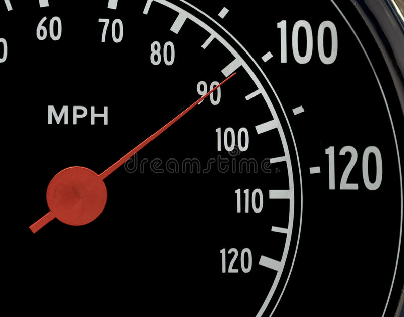 Macro Speedometer. Macro Close-Up of Speedometer with Red Gauge at 100 MPH royalty free stock photo