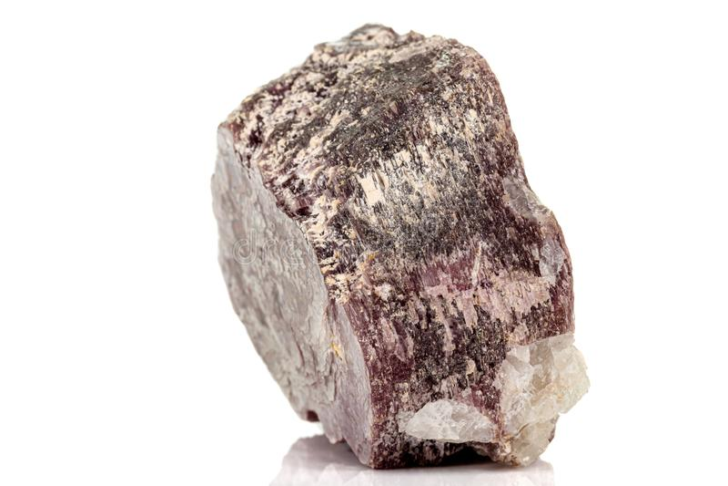 Macro stone Lepidolite mineral on white background stock photo