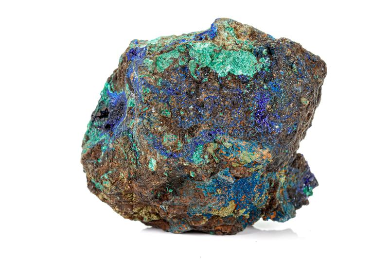 Macro stone mineral Azurite Malachite on a white background. Close up stock photo
