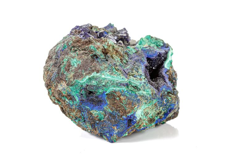Macro stone mineral Azurite Malachite on a white background royalty free stock images