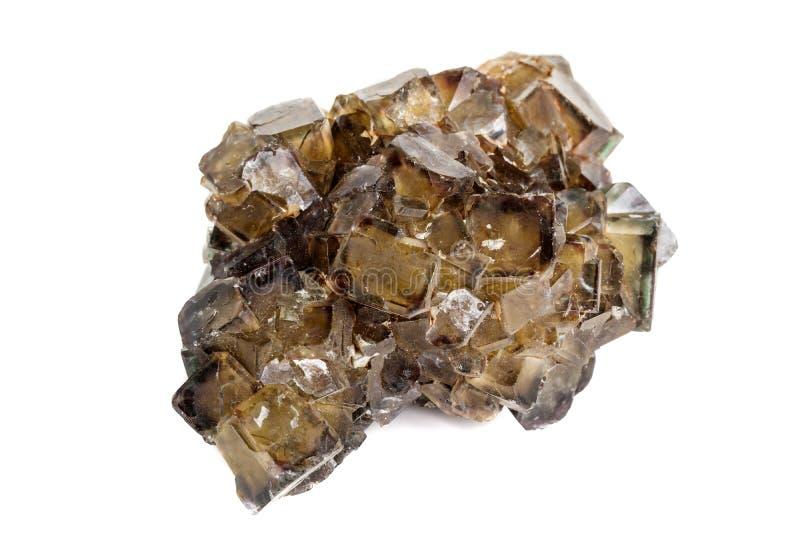 Macro stone mineral Fluorite on a white background royalty free stock photos