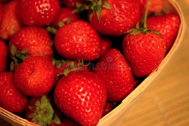 Macro Strawberries ina Basket-1 royalty free stock images