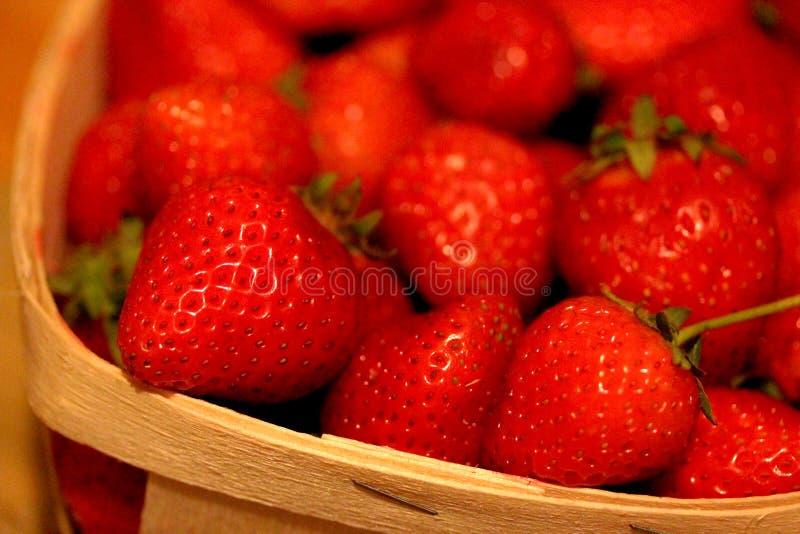 Macro Strawberries ina Basket stock images