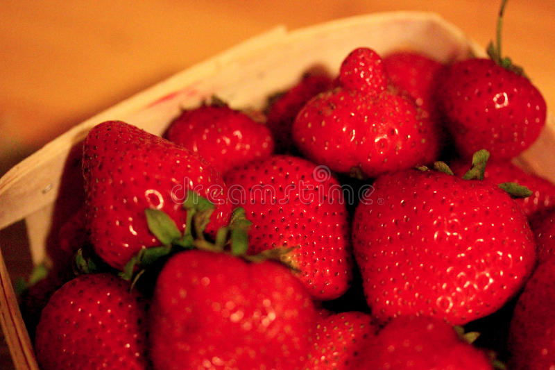 Macro Strawberries ina Basket-2 stock images